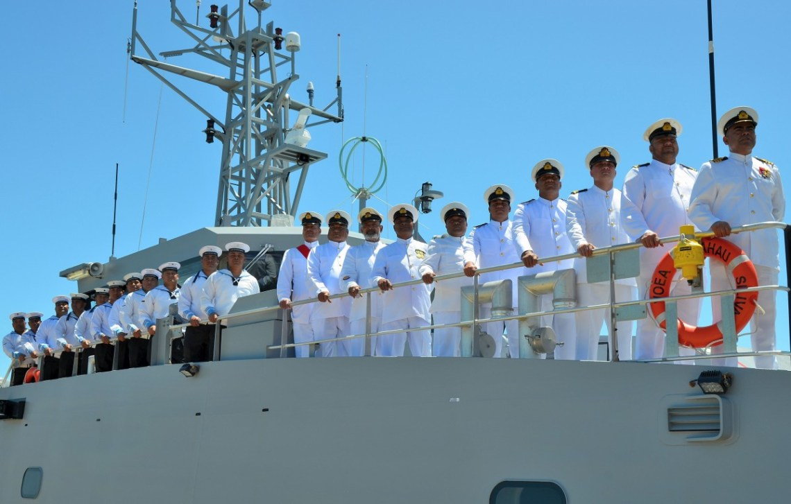 The crew of the VOEA Ngahau Siliva on board the vessel at the handover ceremony (image: Austal)