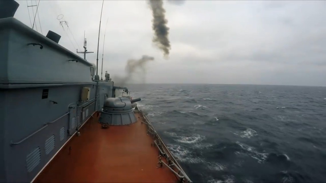 Russian Baltic Fleet Gremyashchiy Corvette Complete Counter-Air Defence Training