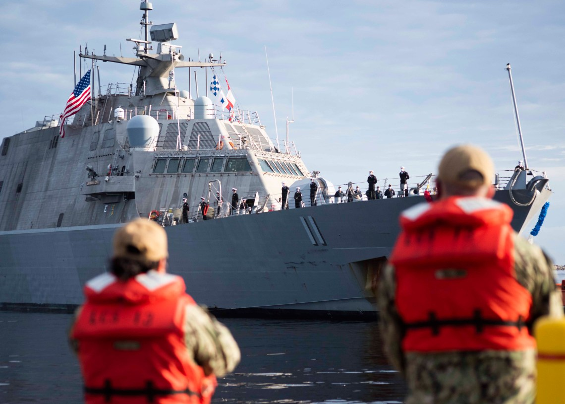 The Freedom-variant littoral combat ship USS Sioux City (LCS 11) prepares to moor at Naval Station Mayport. Sioux City returned to Mayport following a deployment to the U.S. 4th Fleet area of operations.
