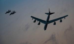 Royal Saudi Arabian Air Force F-15SA Fighters Escort US Air Force B-52 Bombers