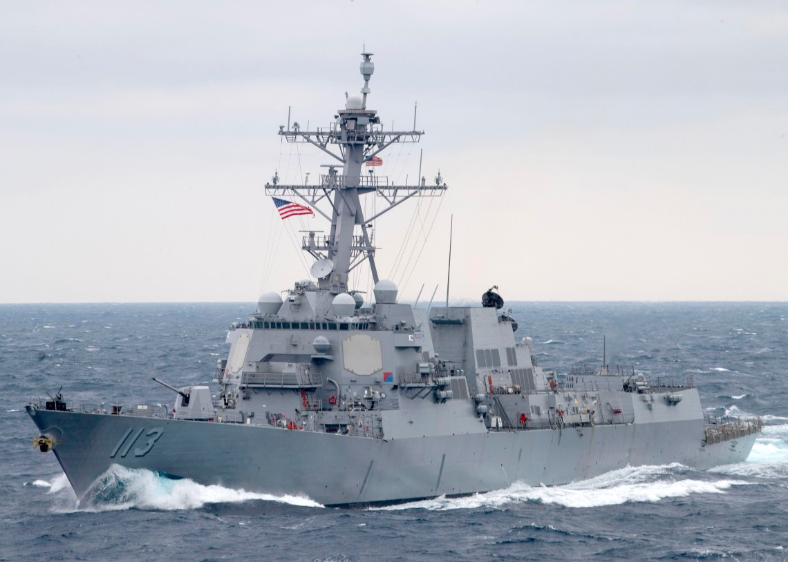 The Arleigh Burke-class guided-missile destroyer USS John Finn (DDG 113) transits the Pacific Ocean Jan. 15, 2021.