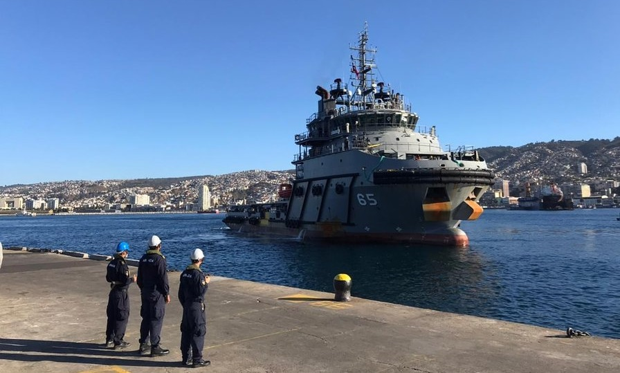 Chilean Navy Supply Vessel Build by Indian's Larsen and Toubro Reaches Valparaiso Harbour