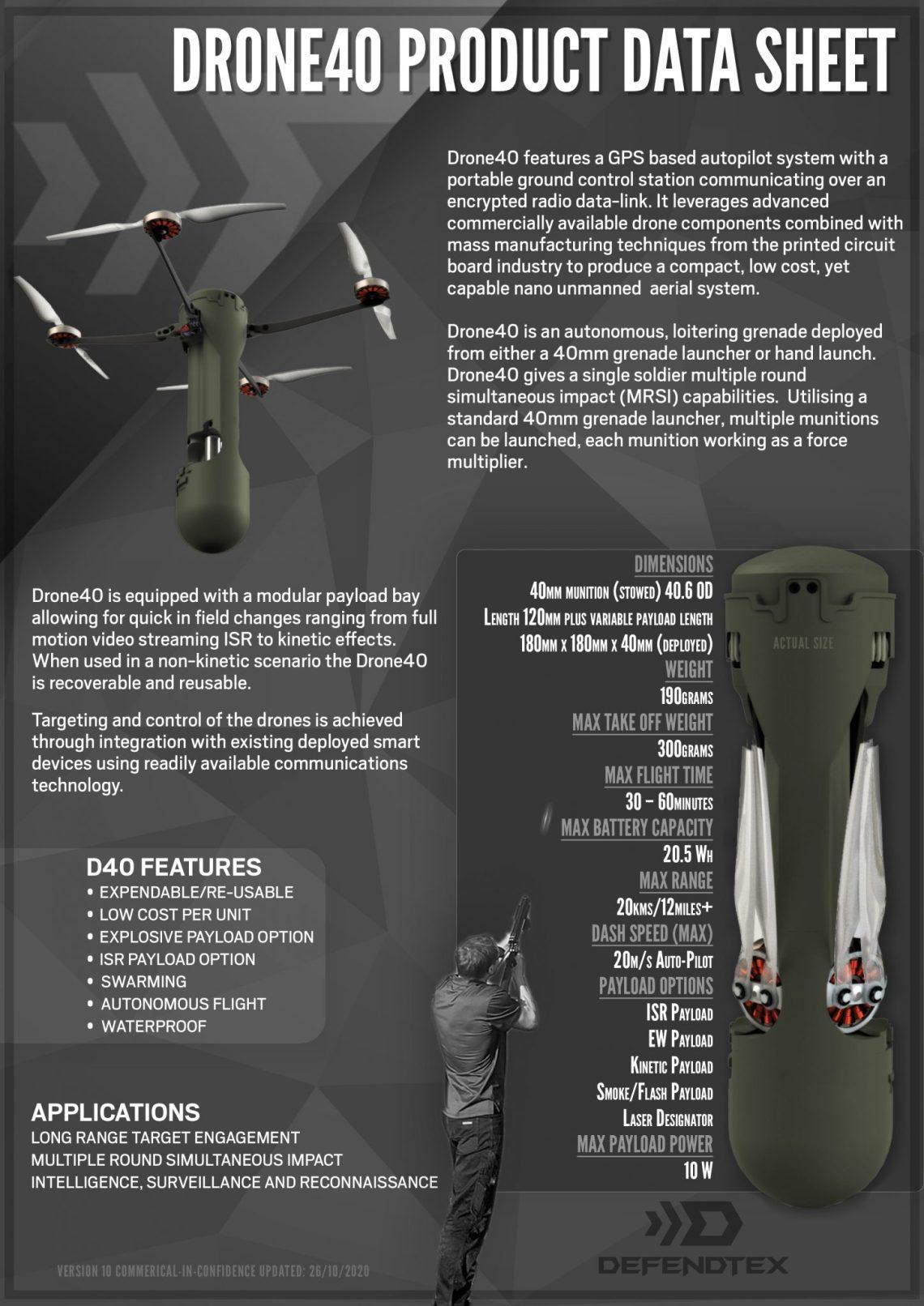 DefendTex Drone40 Grenade Launcher-Fired Mini-Drones