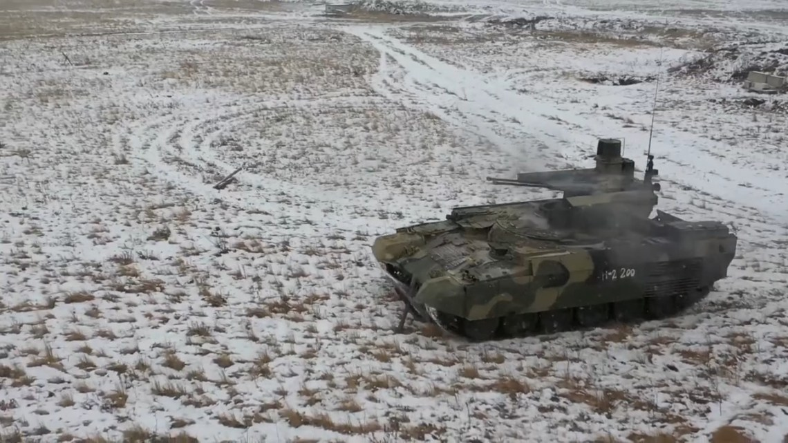 Russian Central Military District Fields BMPT Terminator Tank Support Combat Vehicles