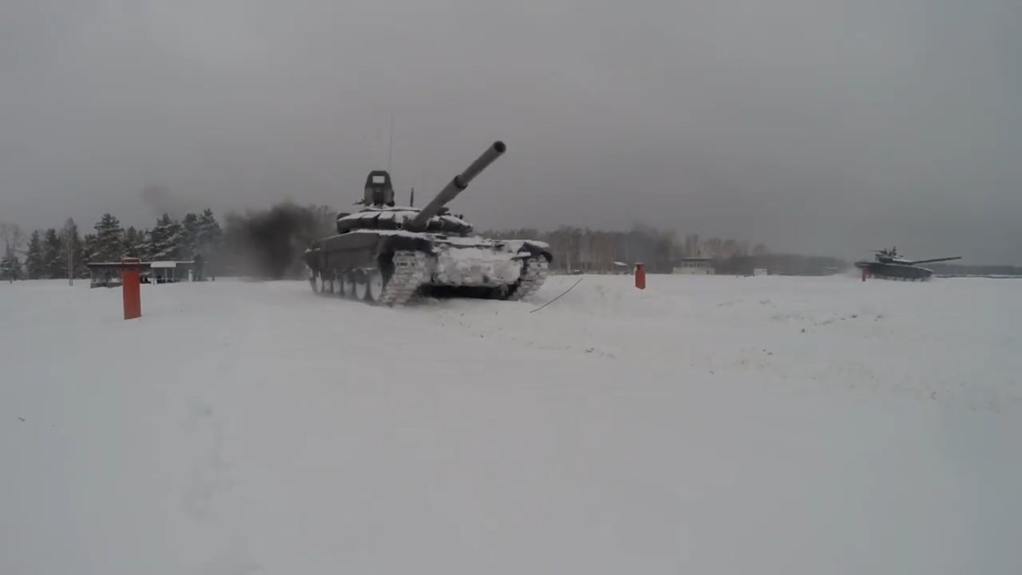 Russian Western Military District T-72B3 Tanks Conduct Live Fire Exercise at Mulino Training Ground