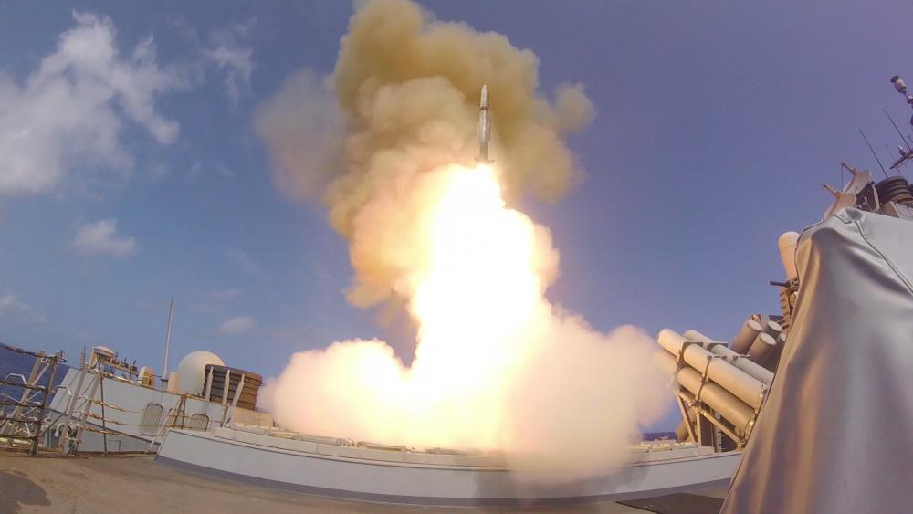 A 1,500-pound SM-2 missile leaps from the guided-missile destroyer USS Roosevelt (DDG 80) at twice the speed of sound to destroy an advanced high-speed target.