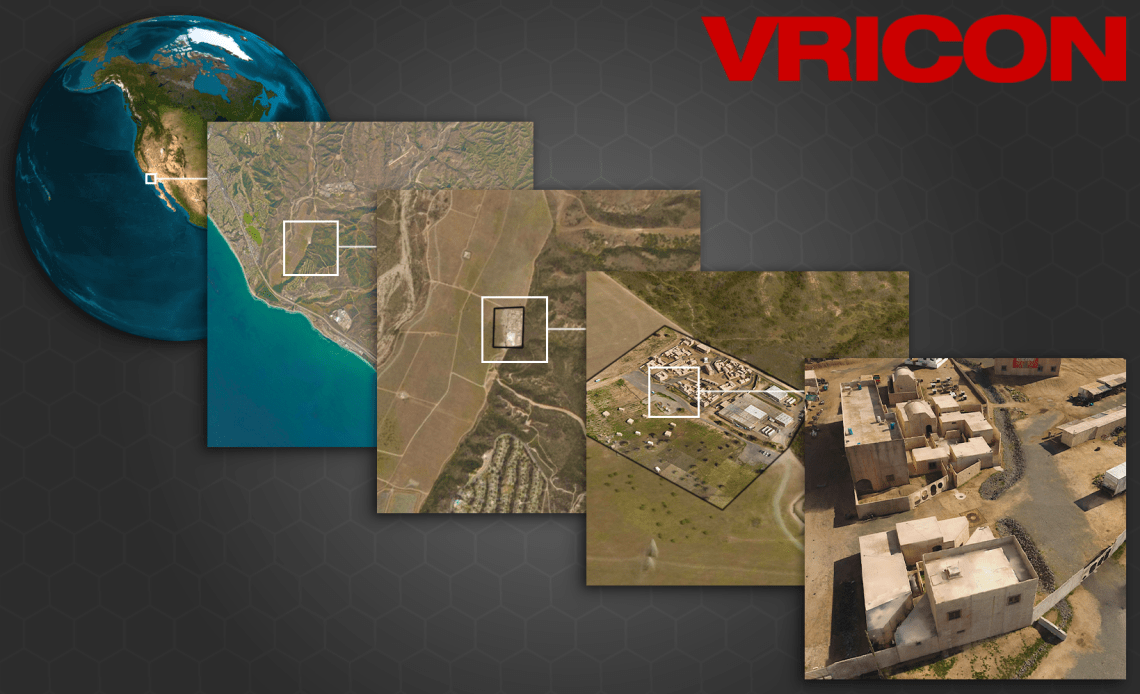 Example rendering of Vricon OWT foundation data with automatically geo-registered and fused data from local drone-based terrain survey to illustrate zoomed levels-of-detail from space down to centimeter-level urban terrain.