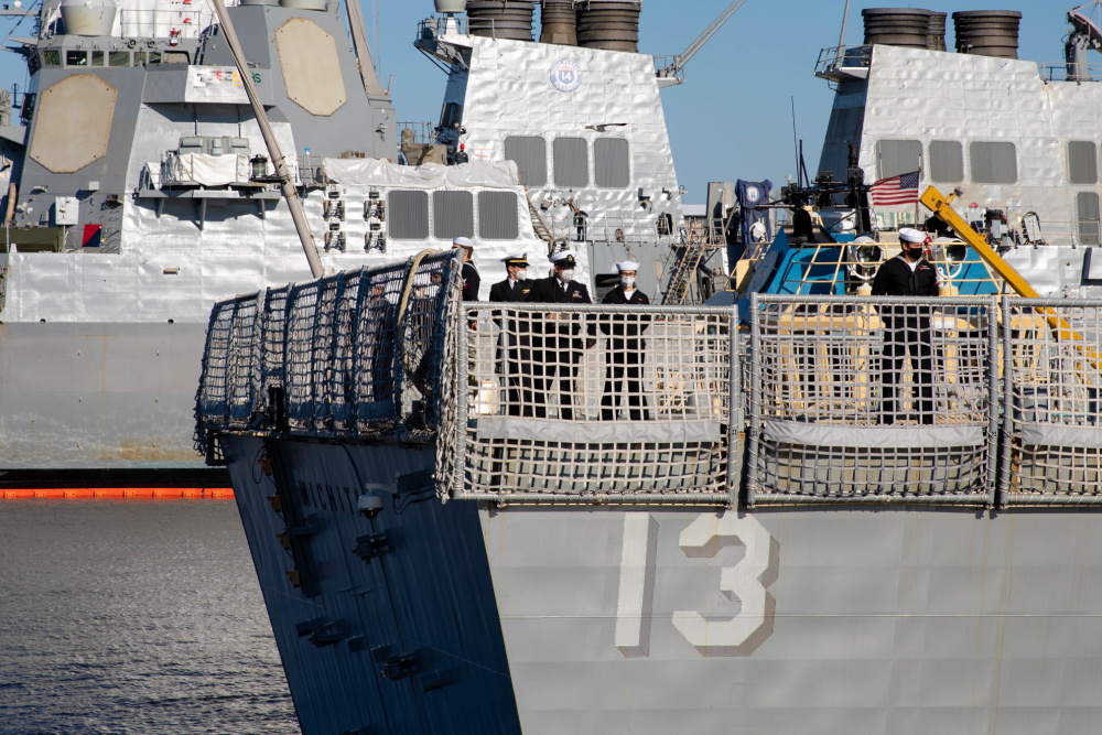 Sailors man the rails while departing Naval Station Mayport aboard the Freedom-variant littoral combat ship USS Wichita (LCS 13), February 24, 2021. Wichita is homeported at Naval Station Mayport.
