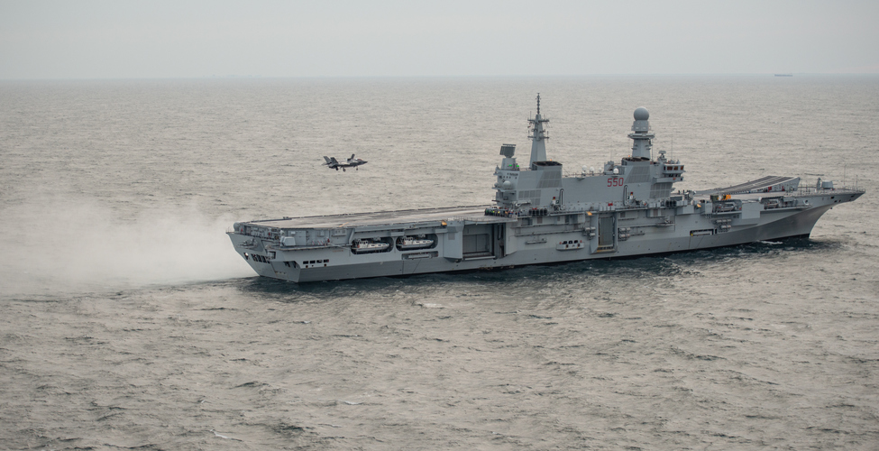 Italian Navy Aircraft Carrier ITS Cavour Started Sea Trials with US Marine Corps F-35B