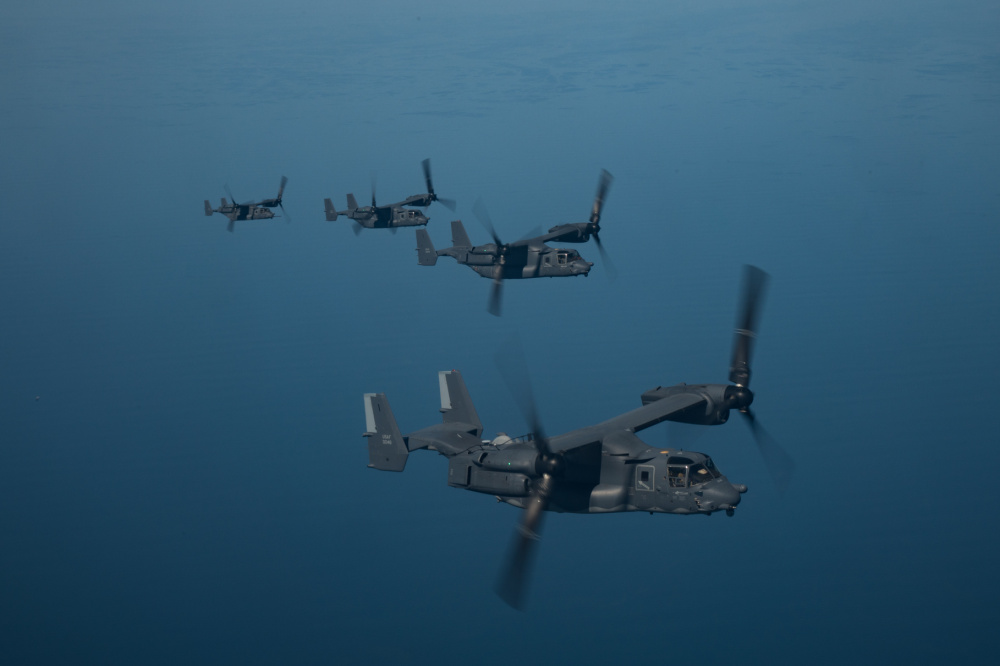 U.S. Air Force CV-22 Ospreys fly in formation in the U.S. Central Command area of responsibility Jan. 29, 2021.The CV-22s mission is to conduct long-range infiltration, exfiltration and resupply missions in the USCENTCOM area of responsibility.