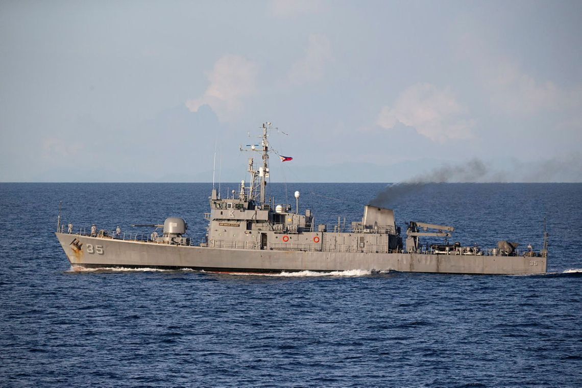 Philippine Navy corvette BRP Emilio Jacinto sails alongside HMAS Anzac during a passage exercise in the Sulu Sea.