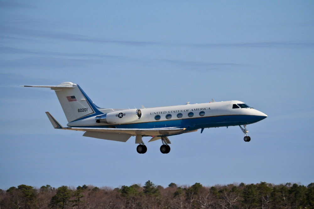 A U.S. Air Force Gulfstream Aerospace C-20B from the 89th Airlift Wing, Joint Base Andrews, Md., performs touch-and-go landings at Atlantic City International Airport, N.J., April 16, 2013. Atlantic City IAP is the home of the 177th Fighter Wing, New Jersey Air National Guard.