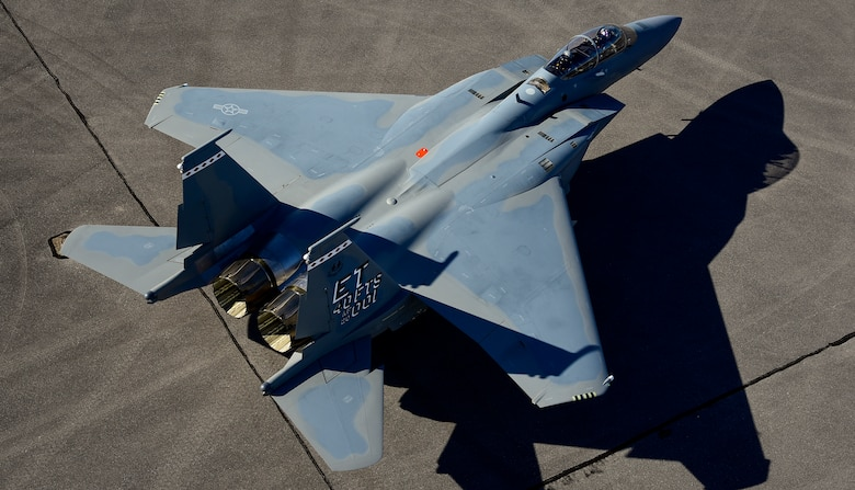 The F-15EX, the Air Force's newest fighter aircraft, arrives to Eglin Air Force Base, Florida March 11.