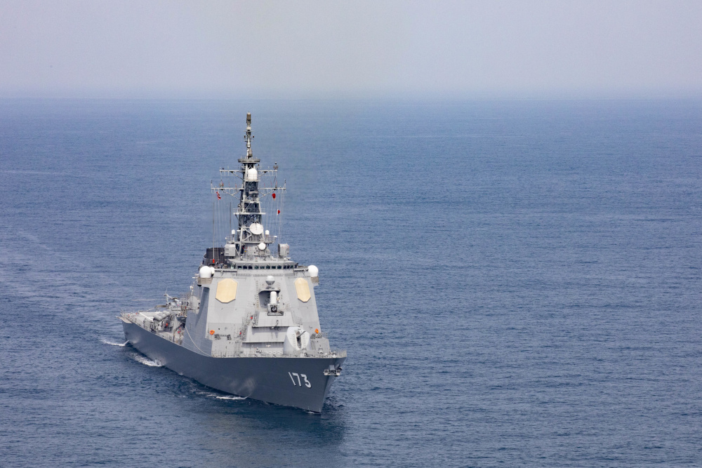 US Navy USS Blue Ridge Operates with Japan Maritime Self Defense Force in East China Sea
