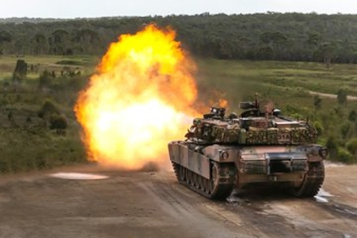 Australian Army Abrams Main Battle Tanks Live Fire on Exercise Howling Wolf