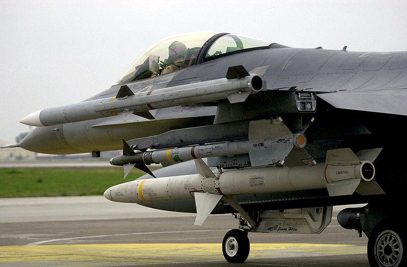 F-16 carrying an AIM-120 AMRAAM AIM-9 Sidewinder and AGM-88 HARM