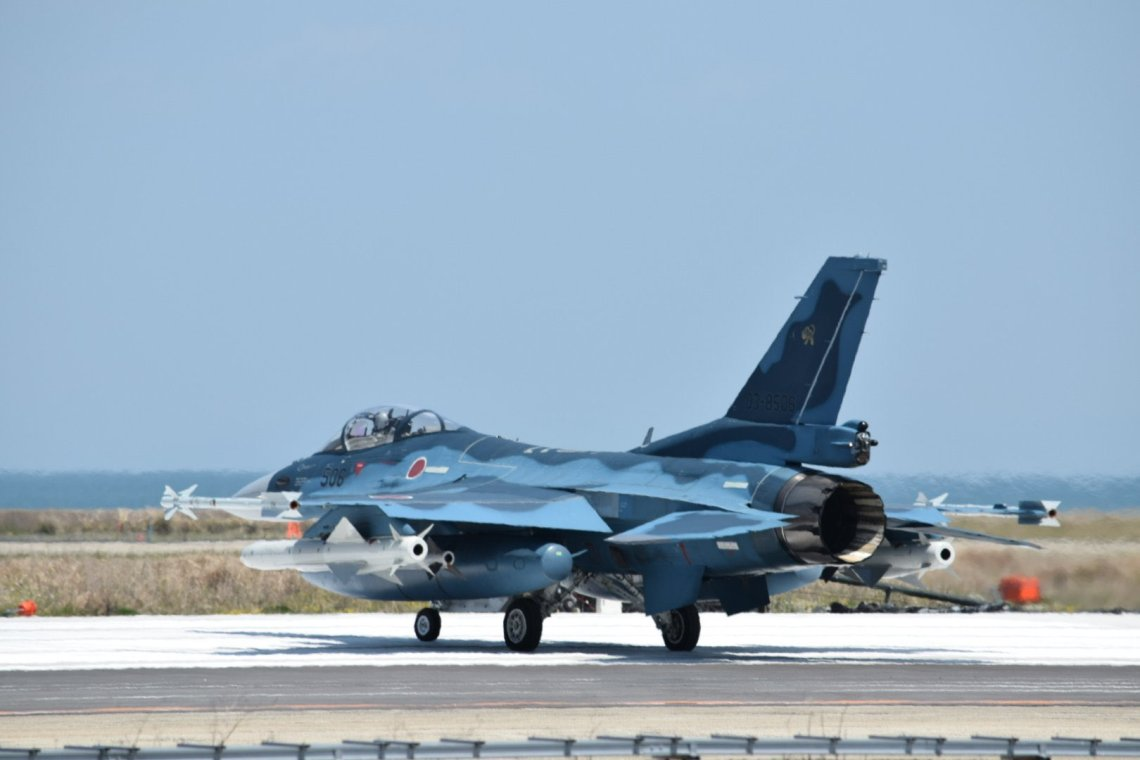 Japan Air Self-Defense Force 8th Squadron Conducts F2 'Elephant Walk'