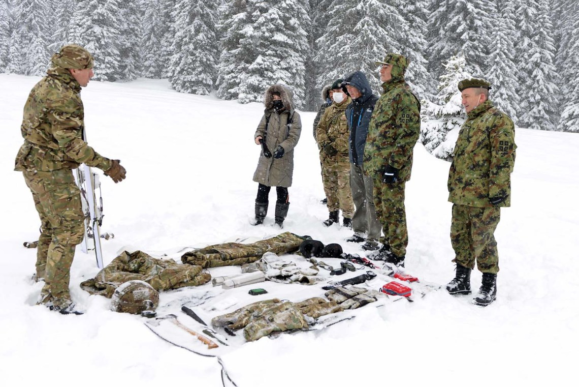 A Royal Marines Mountain Leader is joined by British Army instructors to teach Serbian forces during a ten-day training deployment
