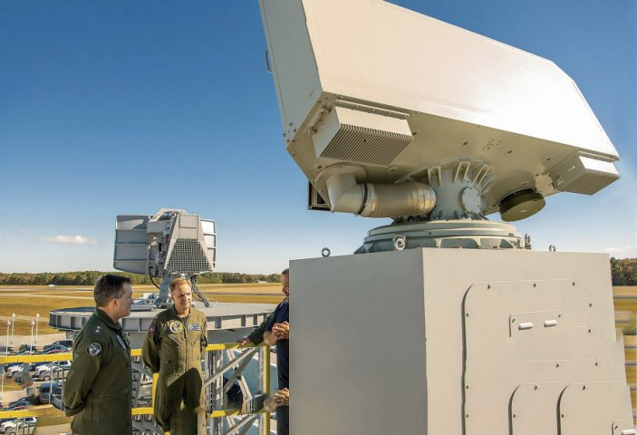The AN/SPN-50(V)1 Shipboard Air Traffic Radar under test at the Naval Air Warfare Center Aircraft Division Webster Outlying Field.