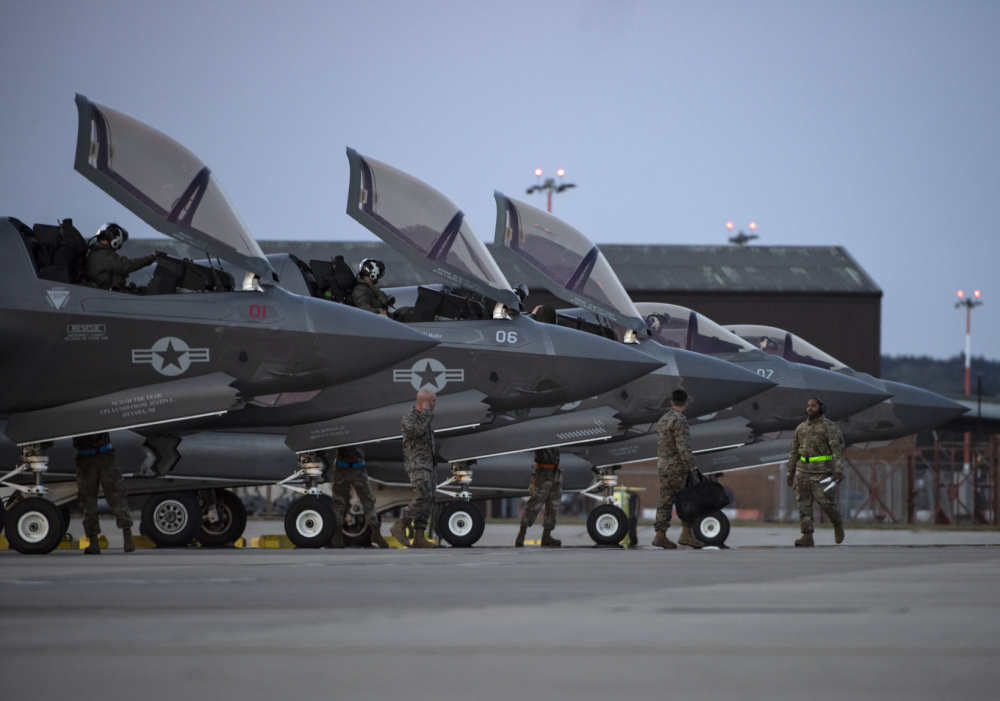 US Marine Fighter Attack Squadron 211 F-35s Arrive at Royal Air Force Lakenheath, England