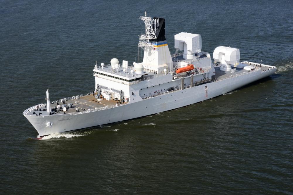 US Navy Missile Range Instrumentation Ship USNS Howard O. Lorenzen Arrives in Singapore