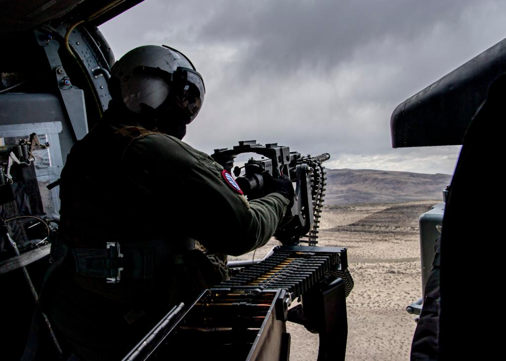 US Navy Sea Combat Squadron 4 MH-60S Helicopter Conduct Live Firing Exercise