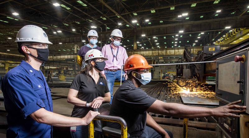 Ingalls shipbuilder Jason Jackson starts fabrication of steel for the newest Legend-class national security cutter Friedman (WMSL 760).