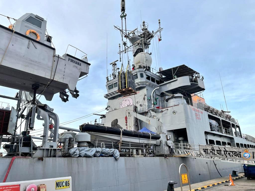 Indian Navy INS Airavat with COVID Emergency Relief Material Set Sailfrom Singapore