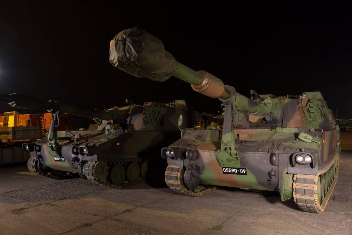 Latvian Land Forces M109A5 155mm self-propelled howitzers