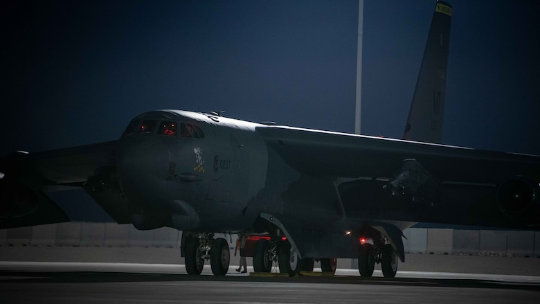 US Air Force B-52 Stratofortress Bombers Support Drawdown Operations from Afghanistan
