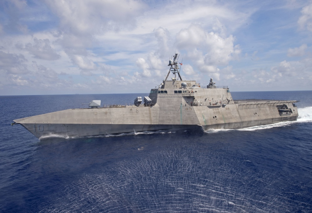 The Independence-variant littoral combat ship USS Gabrielle Giffords (LCS 10) patrols the South China Sea, March 20, 2020.
