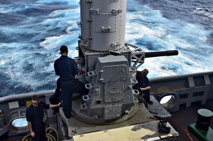 Fire Controlmen conduct routine maintenance checks on an MK-15 Phalanx close-in weapons system (CIWS) aboard the amphibious assault ship USS Wasp
