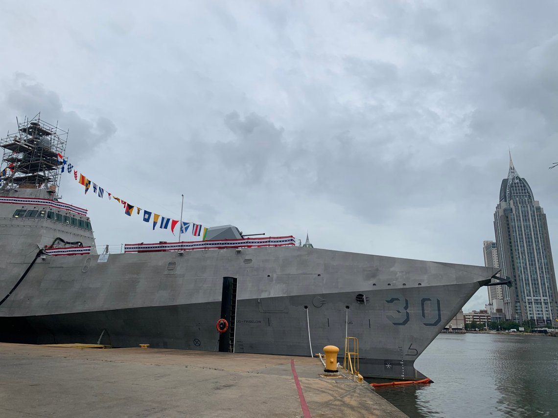 Austal USA Christened U.S. Navy's Future Littoral Combat Ship USS Canberra (LCS 30)