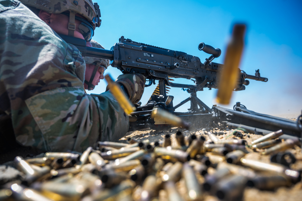 U.S Army Soldiers from Active Duty, National Guard, and Reserve forces conduct live-fire battle drills during the 254th Regional Training Institute's Infantry Advanced Leaders Course on Joint Base McGuire-Dix-Lakehurst, N.J., May 21, 2021.