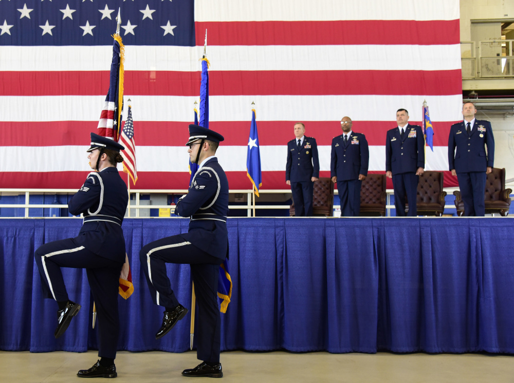 The Eglin Air Force Base Honor Guard presents the colors during the 350th Spectrum Warfare Wing activation ceremony, June 25, 2021.