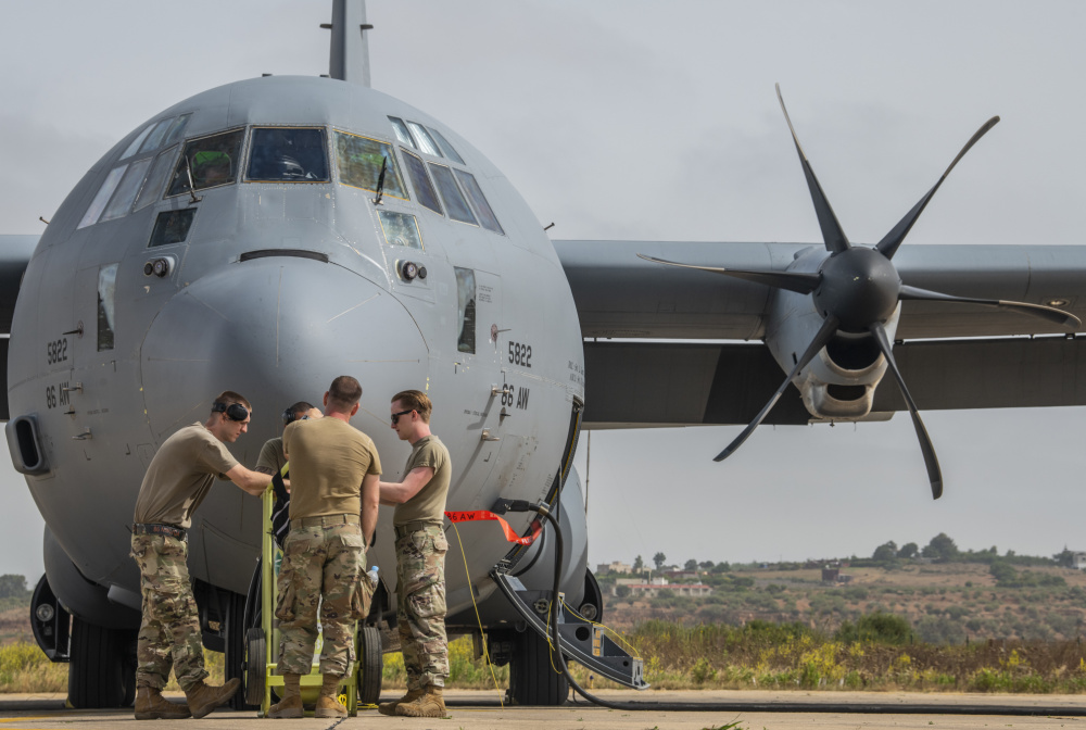 U.S. Air Force C-130J Super Hercules maintainers from the 86th Airlift Wing, Ramstein Air Base, Germany, prepare the aircraft for departure at the 3rd Royal Moroccan Air Force Base in Kenitra, Morocco, 11 June, 2021.