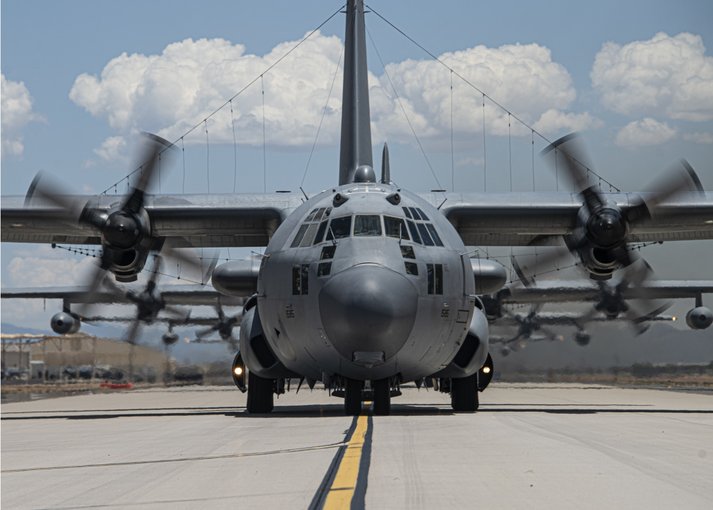 A U.S. Air Force EC-130H Compass Call taxis down the flight line during a show-of-force readiness exercise at Davis-Monthan Air Force Base, Arizona, June 28, 2021.
