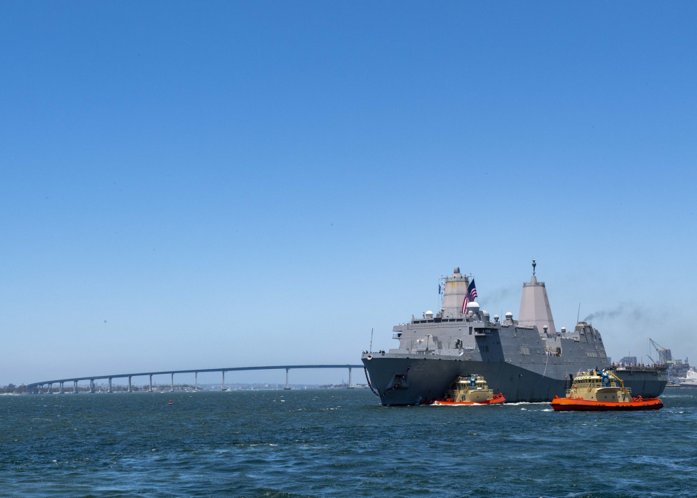 Amphibious transport dock ship USS San Diego (LPD 22) returns to homeport of Naval Base San Diego.