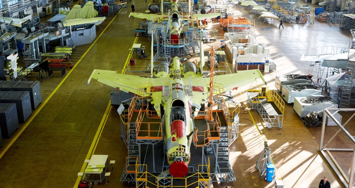 Su-30's Production line in the final assembly shop at Komsomolsk-on-Amur Aircraft Plant.
