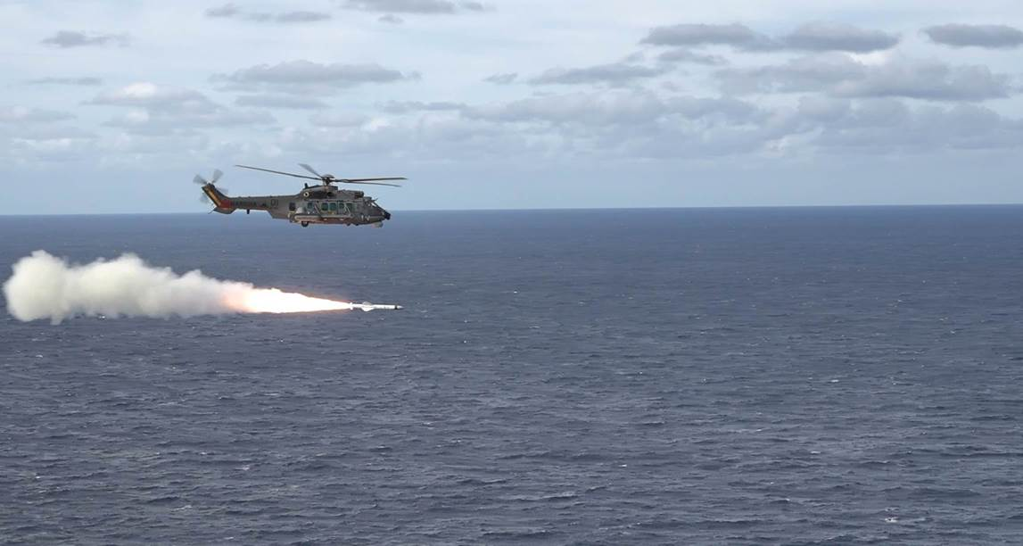 Brazilian Navy H225M Helicopter Fires Exocet AM39 B2M2 Anti-ship Missile