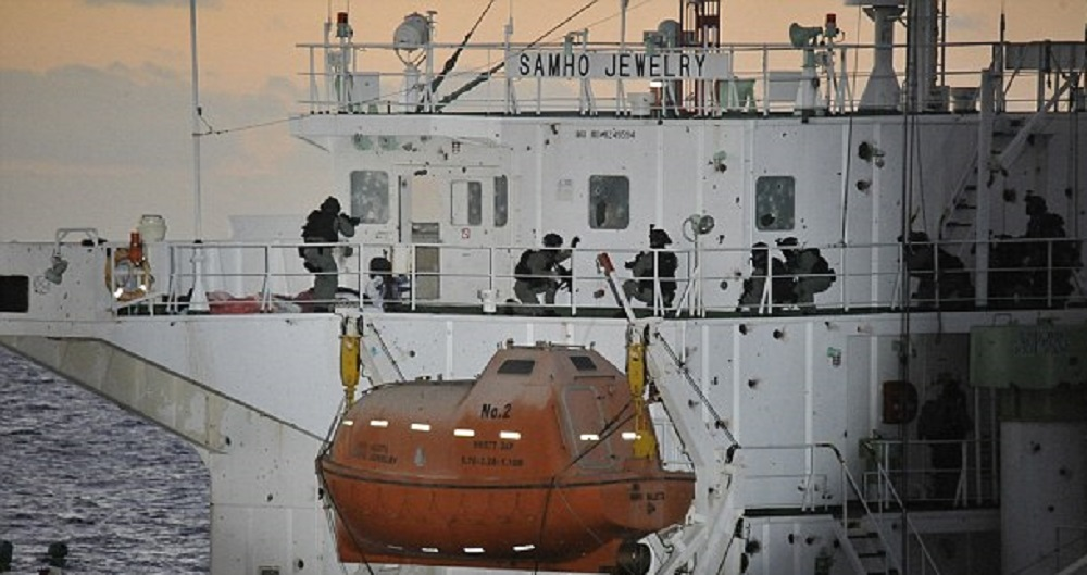 South Korean commandos raid the chemical tanker, MV Samho Jewelry, during Operation Dawn of Gulf of Aden.