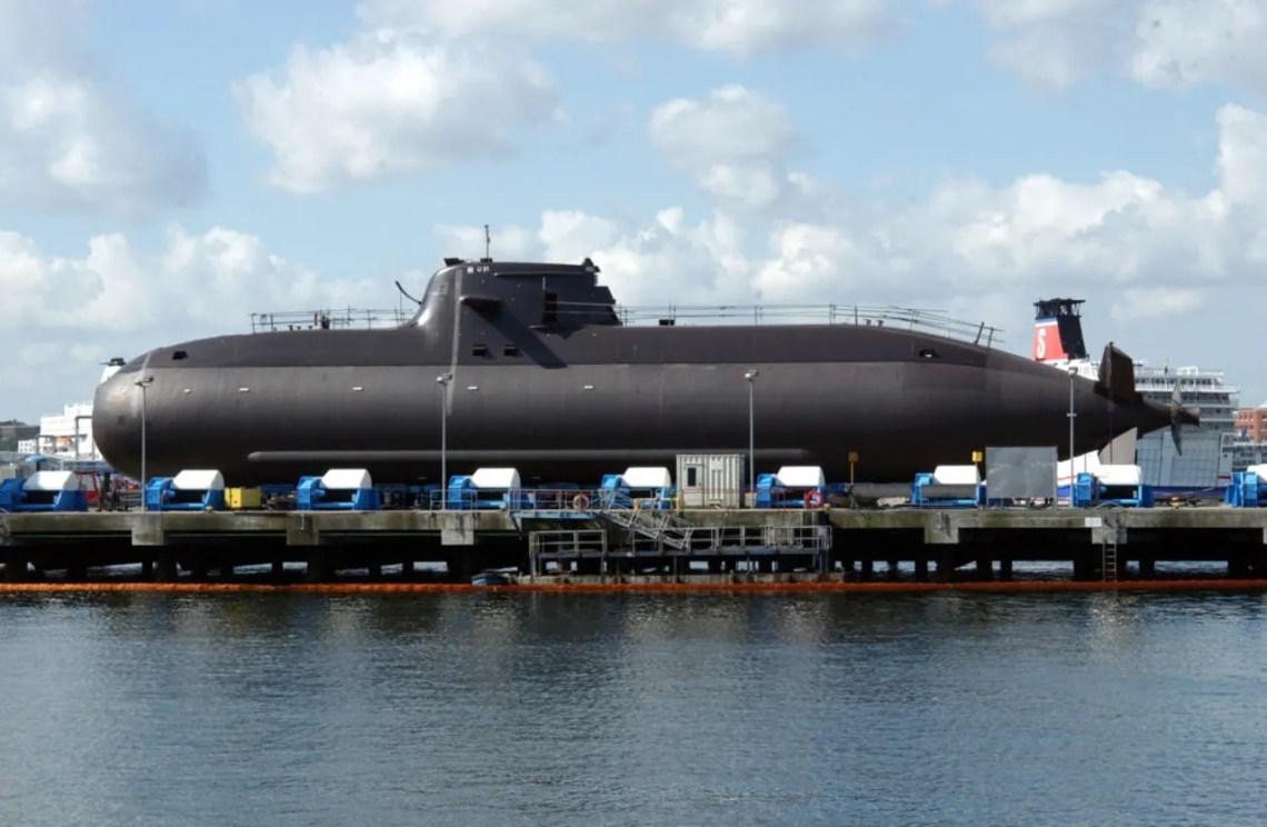 An air-independent submarine HDW Class 212A on land.