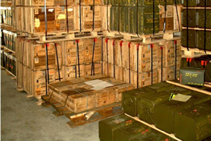 Munition stored in a warehouse