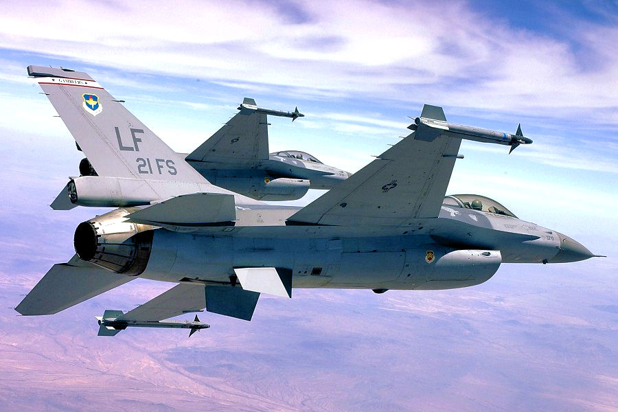 Two 21st Fighter Squadron Republic of China (Taiwan) Air Force F-16s