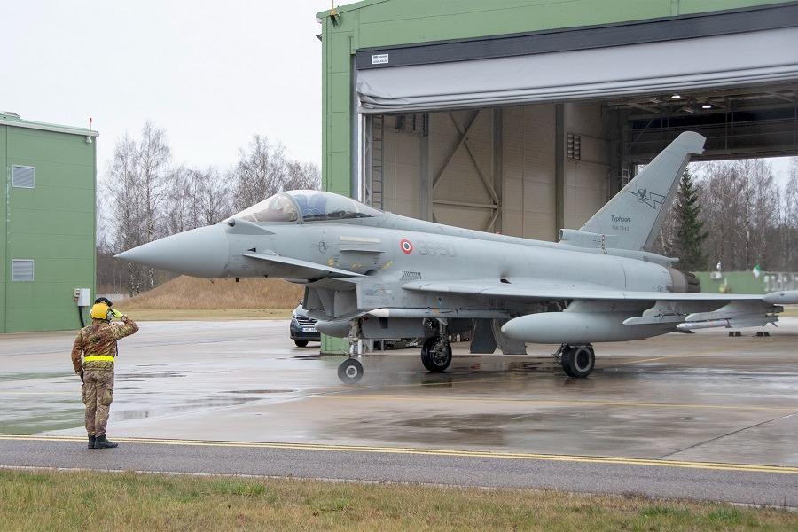 An Italian Eurofighter prepares to take off in support of an Air Policing mission. Eurofighters are used by many different Europeans Air Forces.