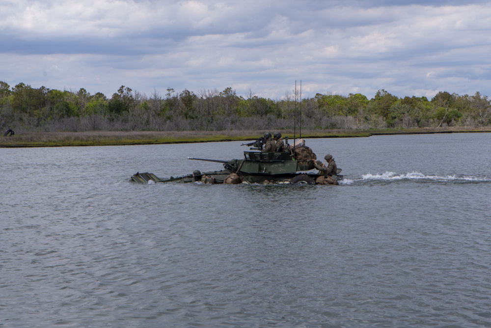U.S. Marines with Bravo Company, 2d Light Armored Reconnaissance Battalion (2d LAR), 2d Marine Division, participate in a water crossing training event with LAV-25s on Camp Lejeune, N.C., May 17, 2021.
