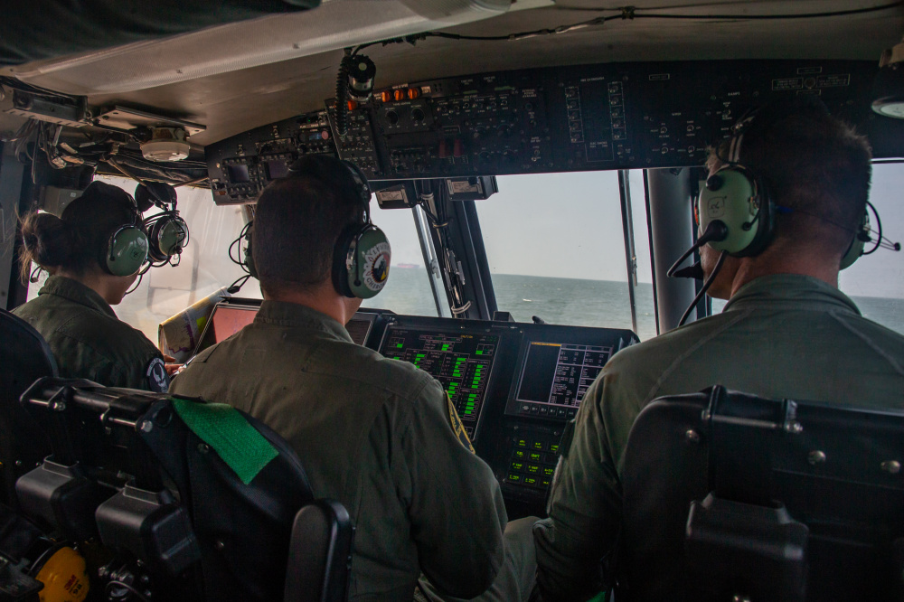 U.S. Navy Sailors with Assault Craft Unit Four pilot an air cushion, landing craft over the sea during Defense Support of Civil Authorities (DSCA) mission rehearsals at Naval Base Norfolk, Virginia, July 22, 2021.