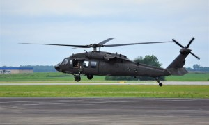 A UH-60V Black Hawk hovers during a demonstration flight at the Huntsville, Al. International Airport July 13.