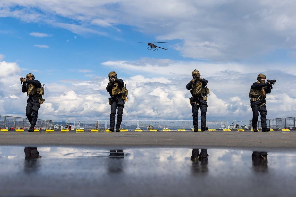 A Ghost drone flies above RFA Mounts Bay, which although still in development, is capable of capturing thermal images and footage from 3,000ft above sea level
