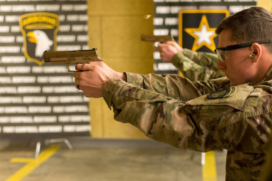 The Sig Sauer M17 handgun, designed to replace the M9 Beretta in the U.S. Army.